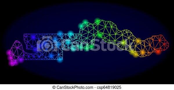 carte, carcasse, couleur, gambie, spectre, taches, polygonal, vecteur, lueur, maille - csp64819025