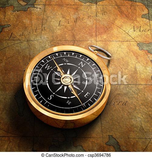 carte, &, compas - csp3694786