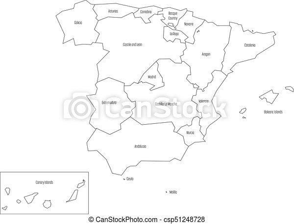 Carte Espagne Noir Et Blanc.Carte Contour 17 Simple Devided Noir Mince Fond Autonome Communities Administratif Blanc Espagne