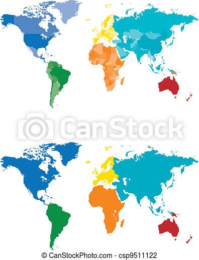 carte couleur, continent, pays - csp9511122