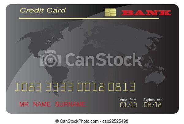 carte de débit, noir, vecteur - csp22525498