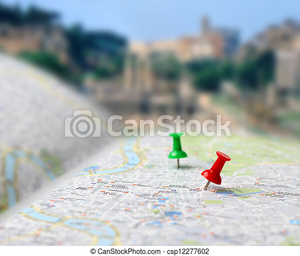 carte, destination voyage, poussée, barbouillage, epingles - csp12277602