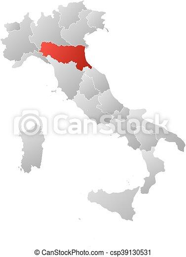 Carte Italie Emilia Romagna.Carte Emilia Romagna Italie
