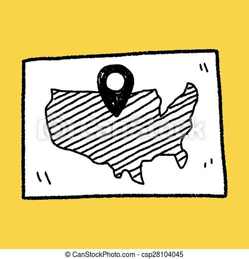 carte, emplacement, griffonnage - csp28104045
