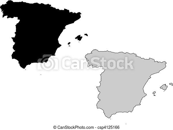 Carte Espagne Noir.Carte Espagne