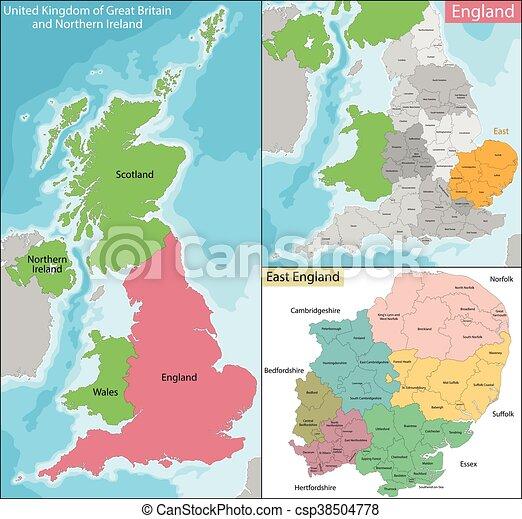 Carte Est Angleterre Est Regions Subdivisions Officiel Une Carte Neuf Angleterre Canstock
