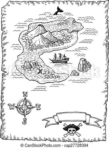 Carte Au Tresor En Dessin.Carte Hand Drawn Tresor Illustratio