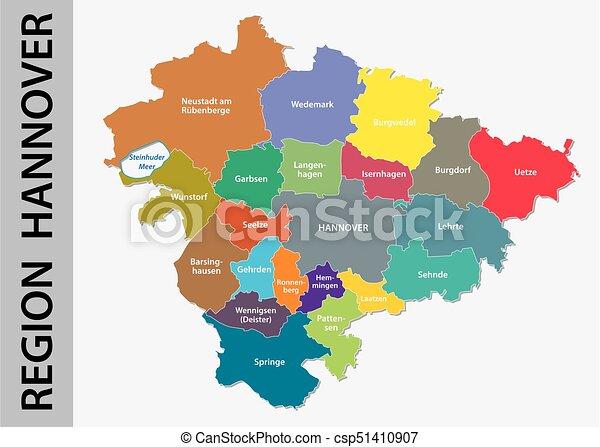 Carte Allemagne Hannover.Carte Hannover Langue Allemand Region Politique Administratif