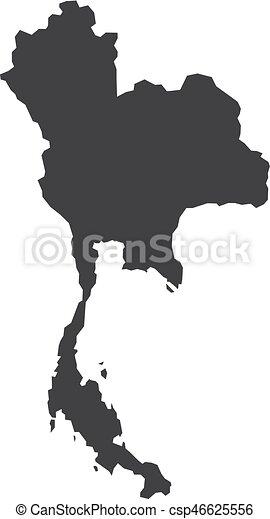 Carte Thailande Noir Et Blanc.Carte Illustration Arriere Plan Vecteur Noir Thailande Blanc