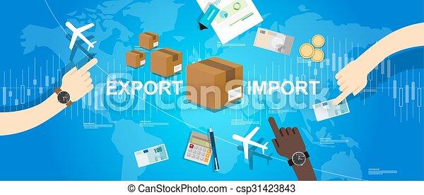 carte, importation, commerce global, exportation, mondiale, marché international - csp31423843