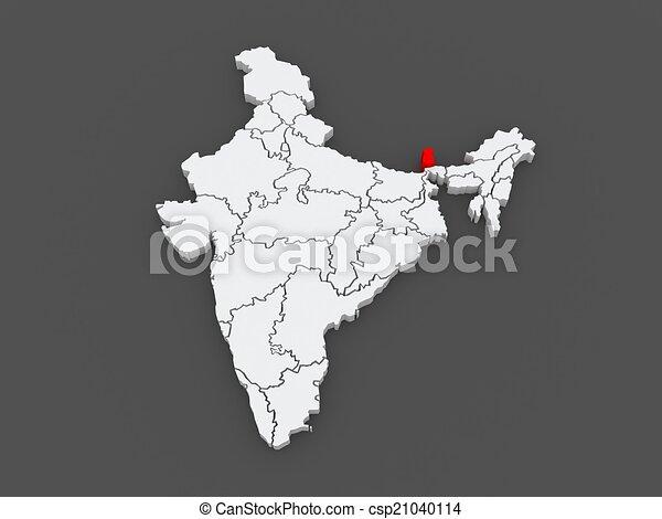 Carte Inde Sikkim.Carte India Sikkim 3d