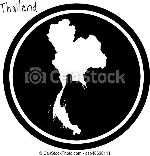 Carte Thailande Noir Et Blanc.Carte Isole Illustration Vecteur Arriere Plan Noir Thailande Cercle Blanc