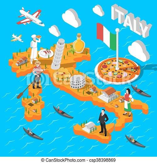 Carte Italie Tourisme.Carte Isometrique Italie Touristes Tourisme