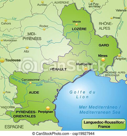 Carte Languedoc Roussillon.Carte Languedoc Roussillon Carte Frontieres Vert Languedoc