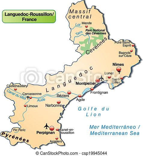 Carte Languedoc Roussillon.Orange Carte Languedoc Roussillon Presentation Pastel