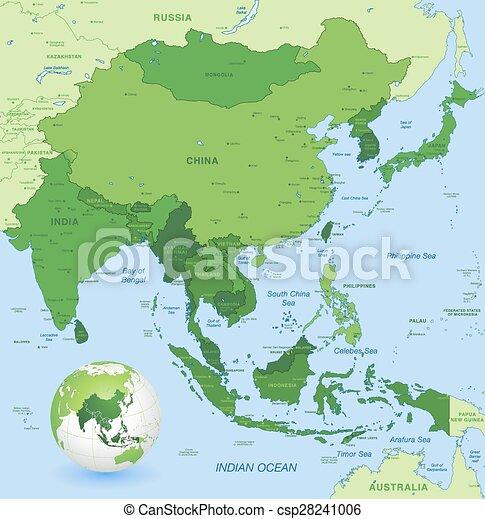 Carte Asie Est.Carte Loin Detail Asie Eleve Vecteur Est