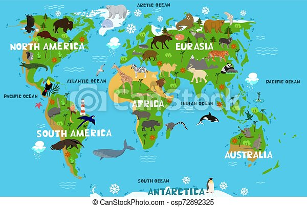 Carte Mainland Animaux Continents Oceans S Vecteur Noms Mondiale Graphics Enfants Carte Mainland Animaux Canstock