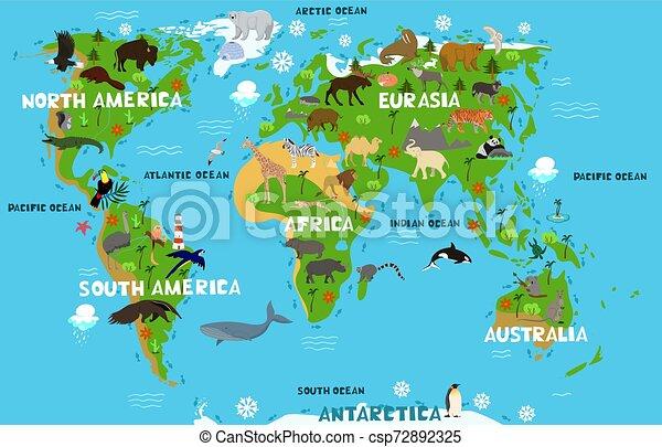 Carte Mainland Animaux Continents Oceans S Vecteur Noms Mondiale Graphics Enfants Carte Mainland Animaux Canstock