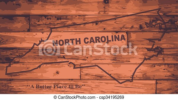 carte, marque, caroline nord - csp34195269