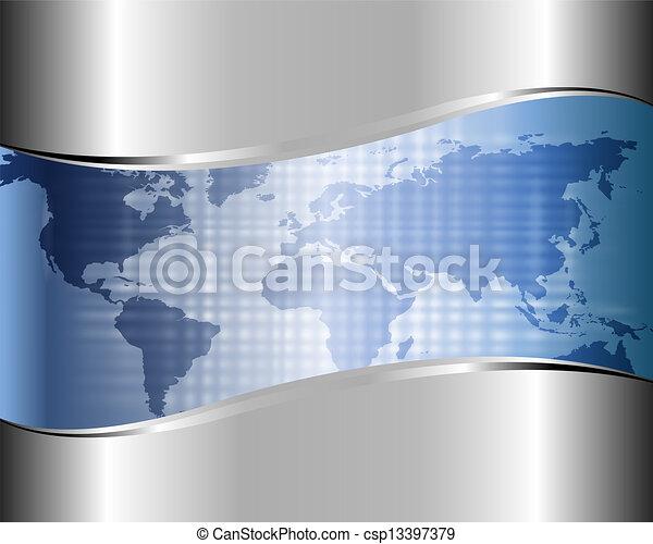 carte, mondiale, fond, métallique - csp13397379