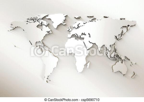 carte, -, mondiale, gaufré, blanc, 3d - csp5690710