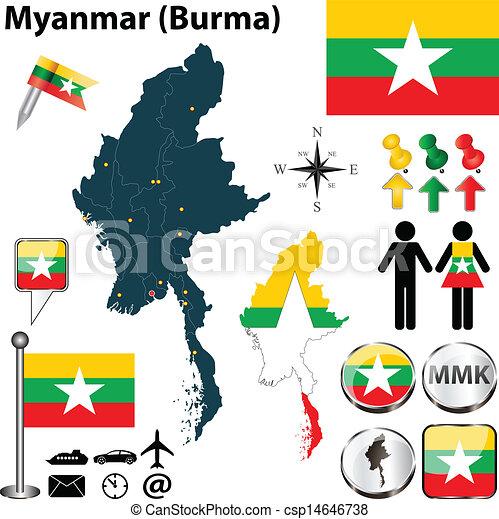 Birmanie Carte Regions.Carte Myanmar Detaille Ensemble Myanmar Icones Pays Region
