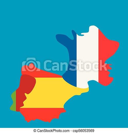 Carte Portugal Espagne France.Carte National France Drapeaux Portugal Espagne