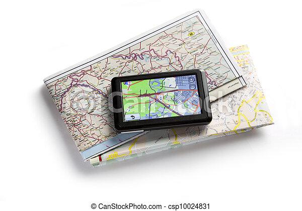 carte, navigateur, blanc, route - csp10024831
