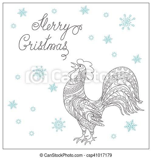 carte, noël, décoré, coq, main, dessiné - csp41017179