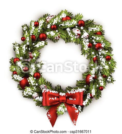 carte, noël, wreath. - csp31667011