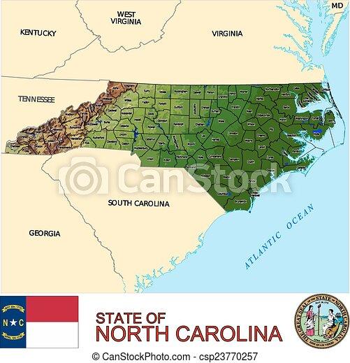 carte, nord, comtés, caroline - csp23770257