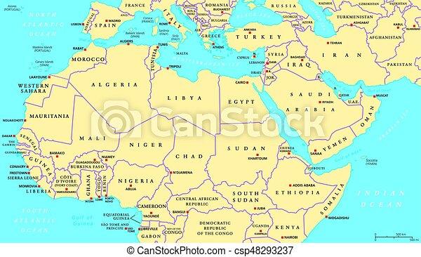 Carte Afrique Orient.Carte Nord Politique Afrique Moyen Orient