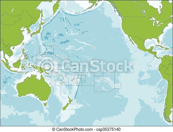 carte, océanie - csp35375140