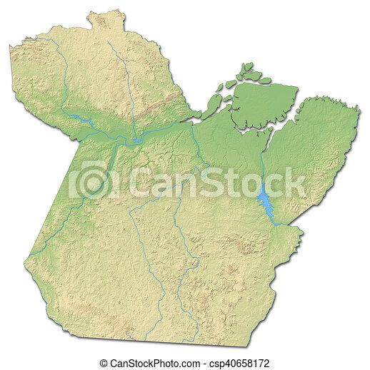 Carte Bresil Relief.Carte Para Soulagement 3d Rendering Brazil Province Carte
