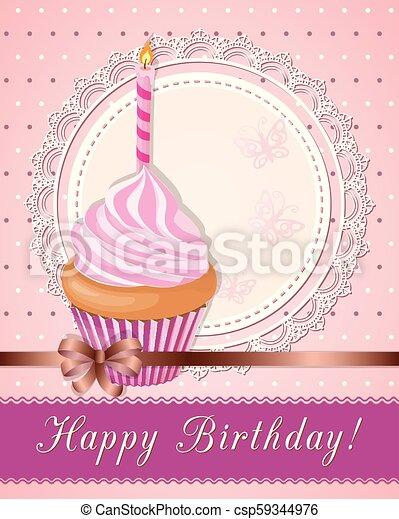 carte, petit gâteau, rose, serviette, anniversaire, vendange - csp59344976