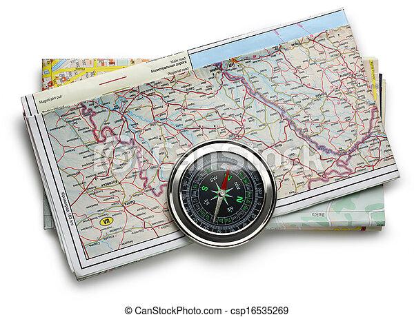 carte, plan, route, compas - csp16535269