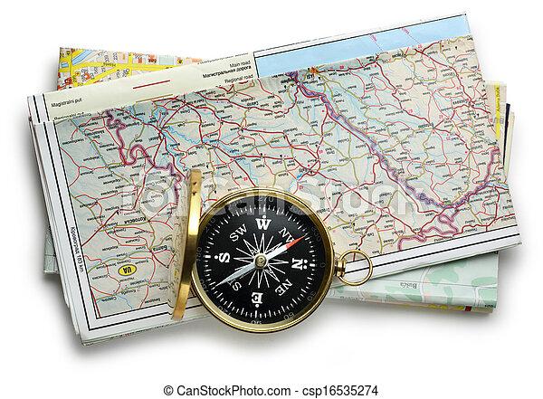 carte, plan, route, compas - csp16535274
