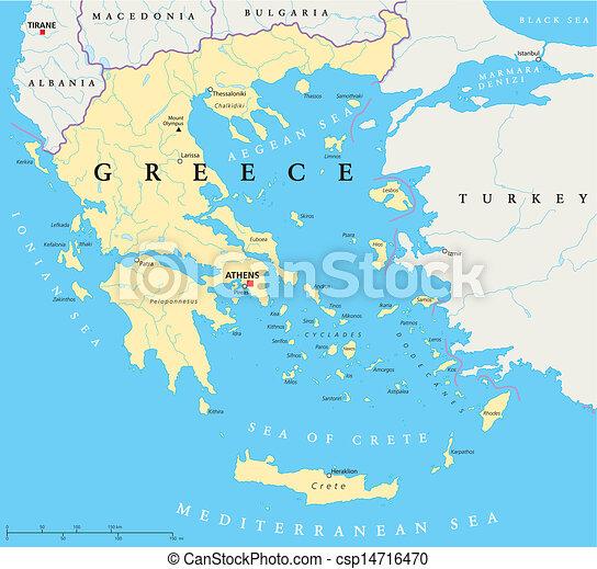 carte, politique, grèce - csp14716470