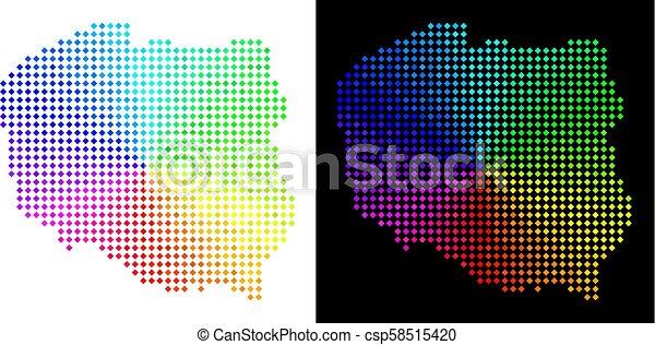 carte, pologne, spectre, pixelated - csp58515420