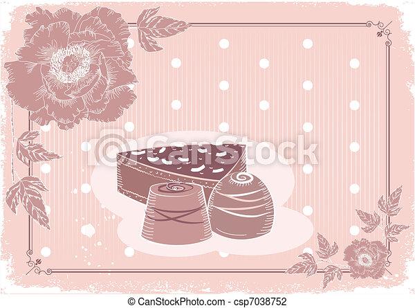 carte postale, bonbons, chocolat, pastel, carte, fond, floral, .vector, vendange, colors. - csp7038752