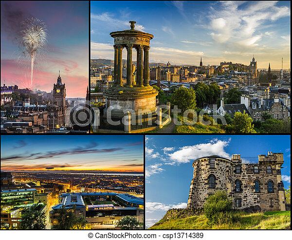 carte postale, edimbourg, été - csp13714389