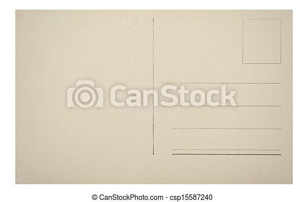 Carte postale, vendange, dos. Carte postale, vendange, copie, dos, espace.