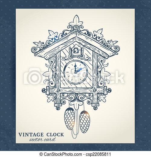 Bien connu Clipart Vecteur de carte postale, vieux, retro, horloge coucou  WP59