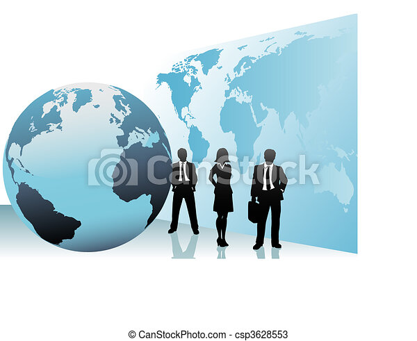 carte, professionnels, globe global, international, mondiale - csp3628553