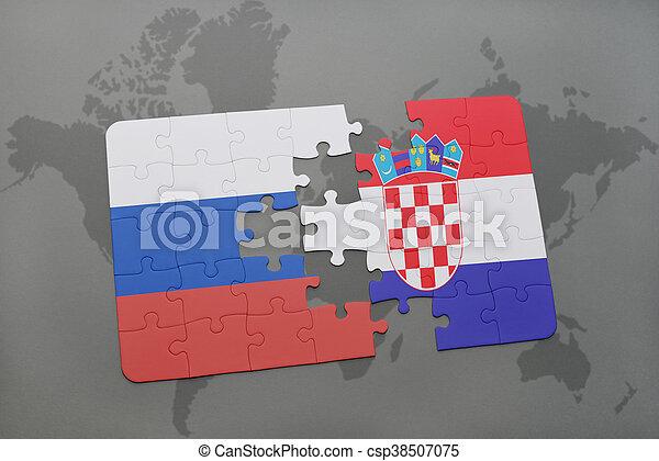 Carte Croatie Et Russie.Carte Puzzle Arriere Plan Drapeau Croatie National Mondiale Russie