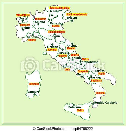 Carte Regions Italie Illustration Italien Carte Commandant Regions Italie Illustration Italy Map Canstock