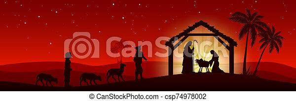 carte rouge, fond, nativité, noël scène - csp74978002