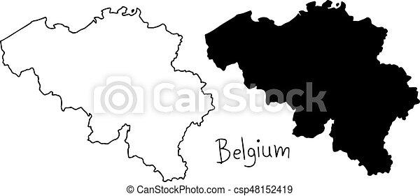 Carte Belgique Noir Et Blanc.Carte Silhouette Contour Isole Illustration Main Lignes Vecteur Arriere Plan Noir Belgique Dessine Blanc
