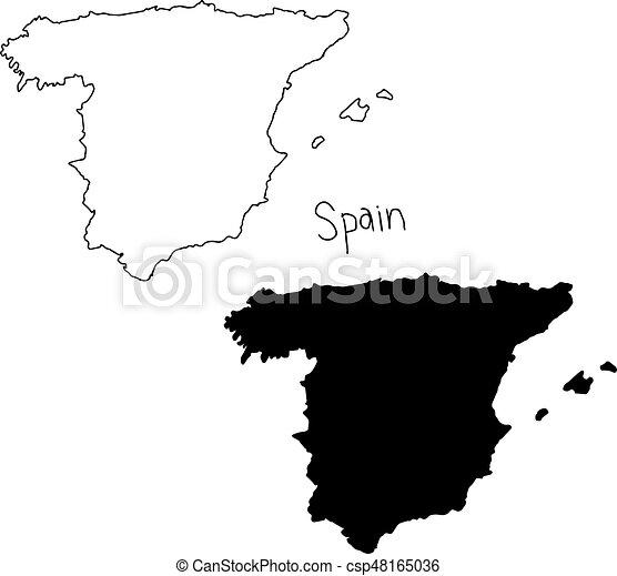 Carte Espagne Noir Et Blanc.Carte Silhouette Contour Isole Illustration Main Lignes Vecteur Arriere Plan Noir Dessine Blanc Espagne