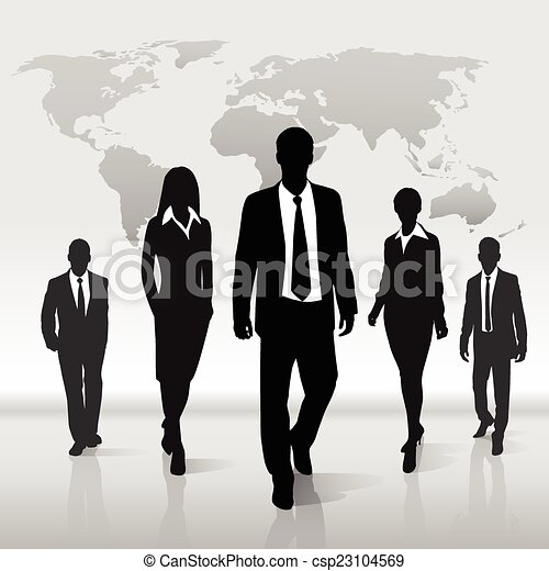 carte, silhouette, professionnels, sur, promenade, mondiale, groupe - csp23104569